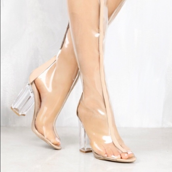 fe249f69f98 New Clear Thigh High Boots. Boutique. Qupid